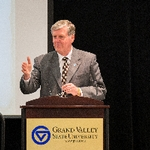 Grand Valley's Fourth President, Thomas J. Haas presenting at Symposium
